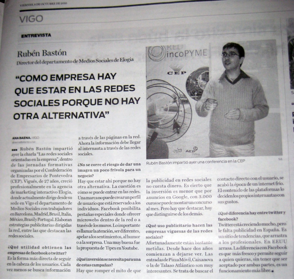 Entrevista a Rubén Bastón en Atlántico Diario