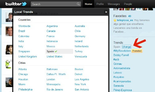 Cómo configurar los trending topics de España