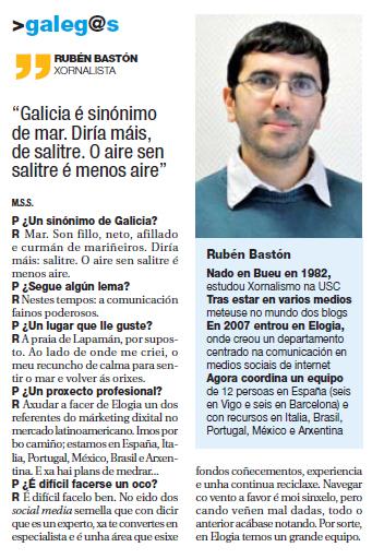entrevista rubenbaston 2203 Entrevista en el diario De luns a venres
