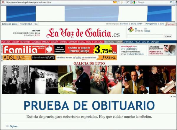 La Voz de Galicia y el obituario de Manuel Fraga