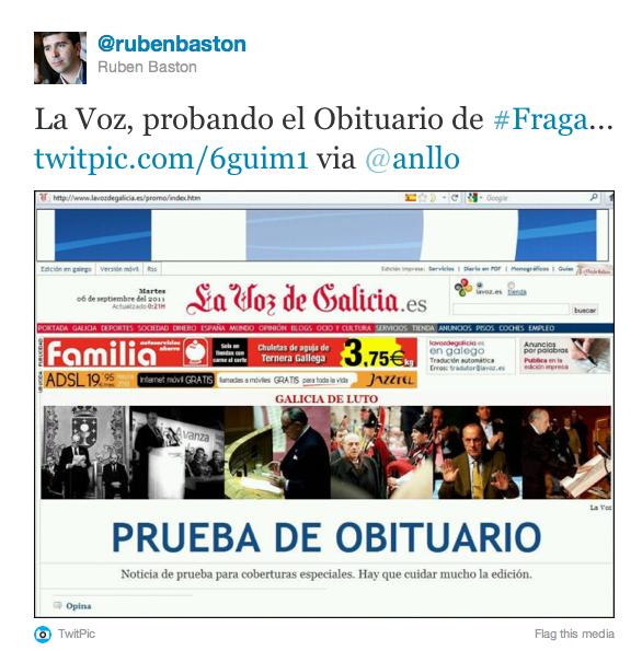Tweet sobre prueba de La Voz con obituario de Manuel Fraga